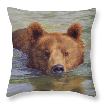 Brown Bear Painting Throw Pillow by David Stribbling