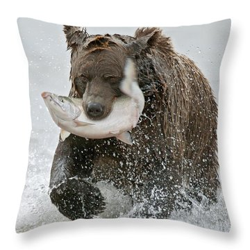 Brown Bear With Salmon Catch Throw Pillow