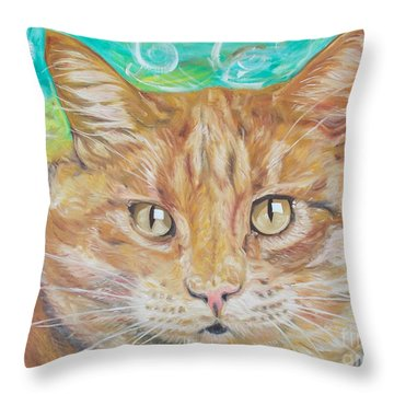 Brown Cat Throw Pillow by PainterArtist FINs husband Maestro