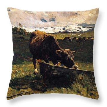 Brown Cow At Trough  Throw Pillow by Giovanni Segantini