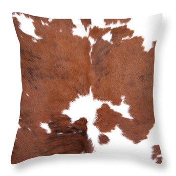 Throw Pillow featuring the photograph Brown Cowhide by Gunter Nezhoda