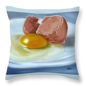 Throw Pillow featuring the painting Brown Egg Study by LaVonne Hand