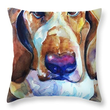 Brown Eyes Throw Pillow by Maria's Watercolor