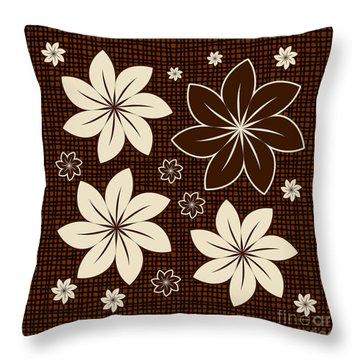 Brown Floral Design Throw Pillow by Gaspar Avila