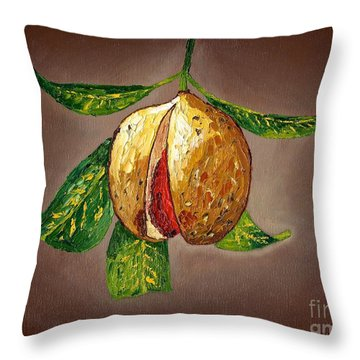 Throw Pillow featuring the painting Brown Glow Nutmeg by Laura Forde