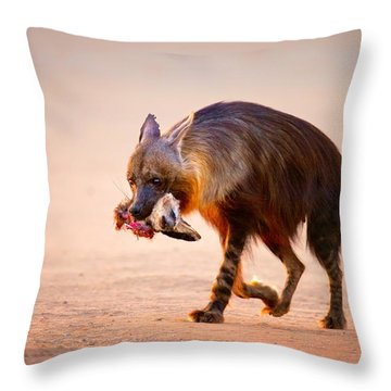 Brown Hyena With Bat-eared Fox In Jaws Throw Pillow