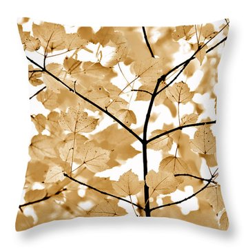 Brown Leaves Melody Throw Pillow by Jennie Marie Schell