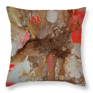 Brown Orange And White Abstract Art By Saribelle Throw Pillow by Saribelle Rodriguez