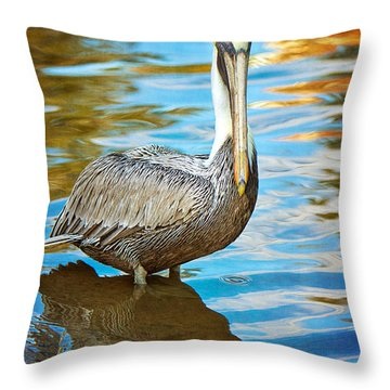 Brown Pelican Along The Bayou Throw Pillow by Joan McCool