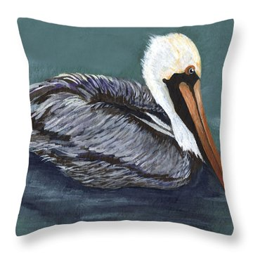 Brown Pelican On Water Throw Pillow by Elaine Hodges