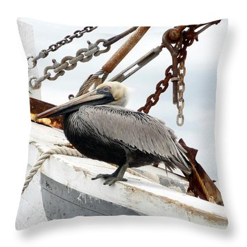 Brown Pelican Throw Pillow by Valerie Reeves