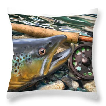 Brown Trout Sunset Throw Pillow