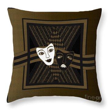 Throw Pillow featuring the digital art Brownblack Janus Masks by Megan Dirsa-DuBois