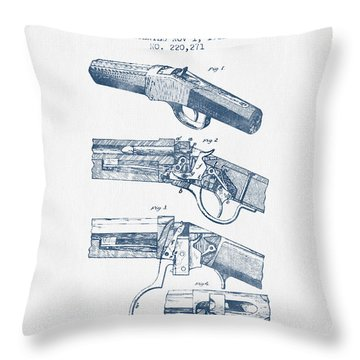 Browning Rifle Patent Drawing From 1921 -  Blue Ink Throw Pillow