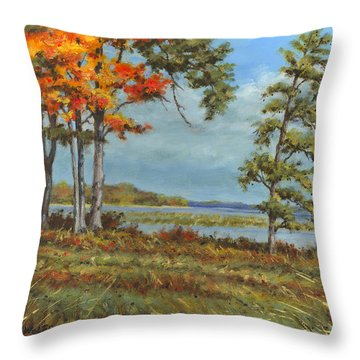 Browns Bay Throw Pillow by Richard De Wolfe