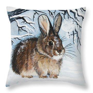 Brrrr Bunny Throw Pillow