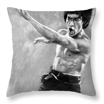 Throw Pillow featuring the photograph Bruce Lee by Viola El