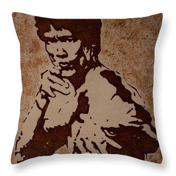 Bruce Lee Original Coffee Painting Throw Pillow by Georgeta Blanaru