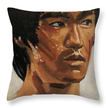 Bruce Lee Throw Pillow by Patrick Killian