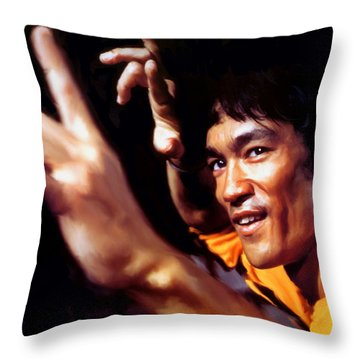 Bruce Lee Throw Pillow by Paul Tagliamonte