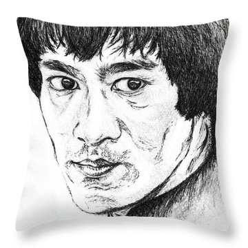 Bruce Lee Throw Pillow by Teresa White