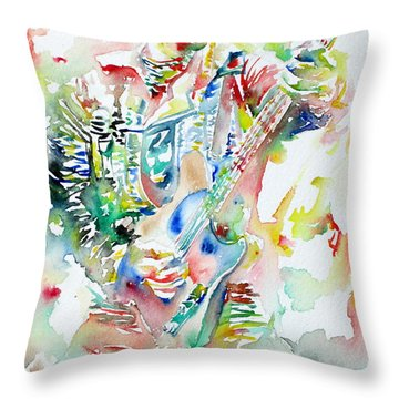 Bruce Springsteen Playing The Guitar Watercolor Portrait Throw Pillow