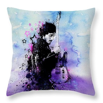 Bruce Springsteen Splats And Guitar 2 Throw Pillow by Bekim Art