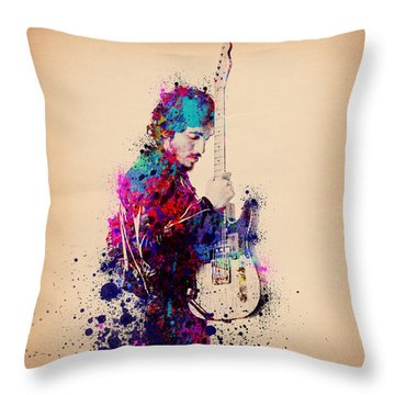Bruce Springsteen Splats And Guitar Throw Pillow by Bekim Art