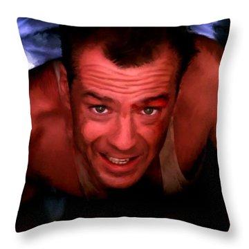 Bruce Willis In The Film Die Hard - John Mctiernan 1988 Throw Pillow