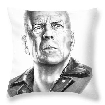 Bruce Willis Throw Pillow by Murphy Elliott
