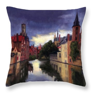 Bruges Belgium Canal Throw Pillow