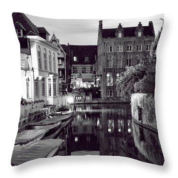 Bruges Canal In Black And White Throw Pillow
