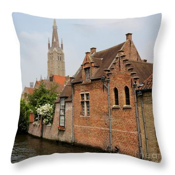 Bruges Houses With Bell Tower Throw Pillow by Carol Groenen