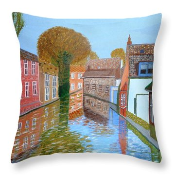 Brugge Canal Throw Pillow by Magdalena Frohnsdorff
