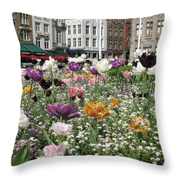 Throw Pillow featuring the photograph Brugge In Spring by Ausra Huntington nee Paulauskaite