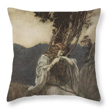 Brunnhilde Kisses The Ring That Siegfried Has Left With Her Throw Pillow by Arthur Rackham