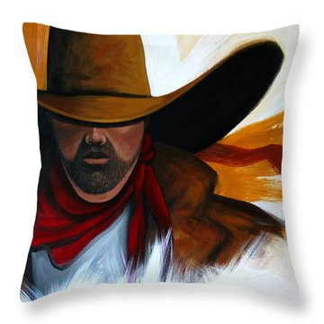 Brushstroke Cowboy #4 Throw Pillow by Lance Headlee