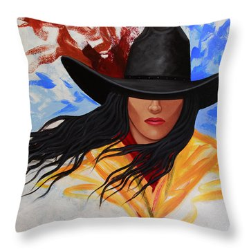 Brushstroke Cowgirl #3 Throw Pillow by Lance Headlee