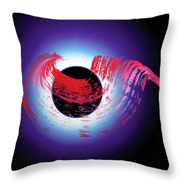 Brushstroke Over Eclipse -- Tribute To Pink Floyd Dark Side Of The Moon Throw Pillow by Asha Carolyn Young and Daniel Furon