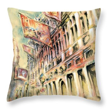 Brussels Grand Place - Watercolor Throw Pillow