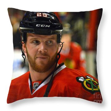 Throw Pillow featuring the photograph Bryan Bickell by Melissa Goodrich