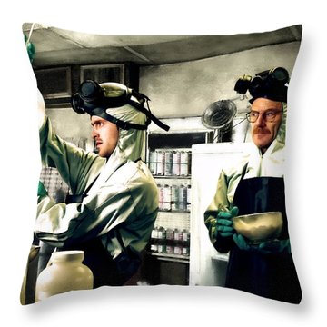 Bryan Cranston As Walter White And Aaron Paul As Jesse Pinkman Cooking Metha @ Tv Serie Breaking Bad Throw Pillow
