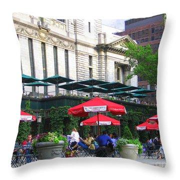 Bryant Park At Noon Throw Pillow by Dora Sofia Caputo Photographic Art and Design