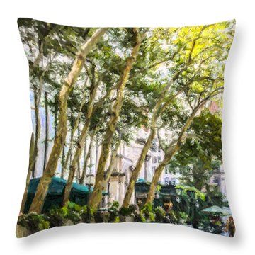 Bryant Park Midtown New York Usa Throw Pillow by Liz Leyden