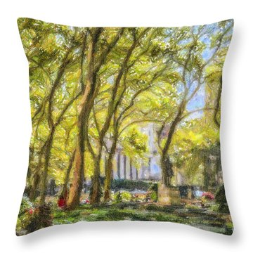 Bryant Park October Morning Throw Pillow