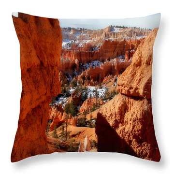Bryce Canyon Cliff Shot Throw Pillow by Marti Green