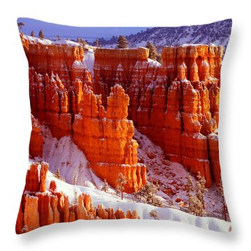 Bryce Canyon In Snow Throw Pillow