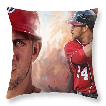 Throw Pillow featuring the painting Bryce Harper Artwork by Sheraz A