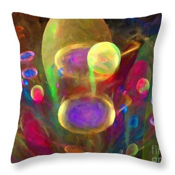 Bubble Circus Throw Pillow by Dee Flouton