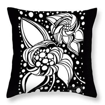 Bubble Flowers Throw Pillow by Sarah Loft